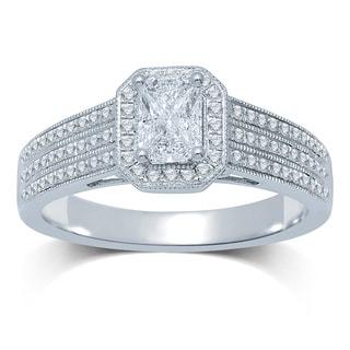 14k White Gold 1/2ct TDW Invisible-set DIamond Milgrain Engagement Ring (G-H, SI3)