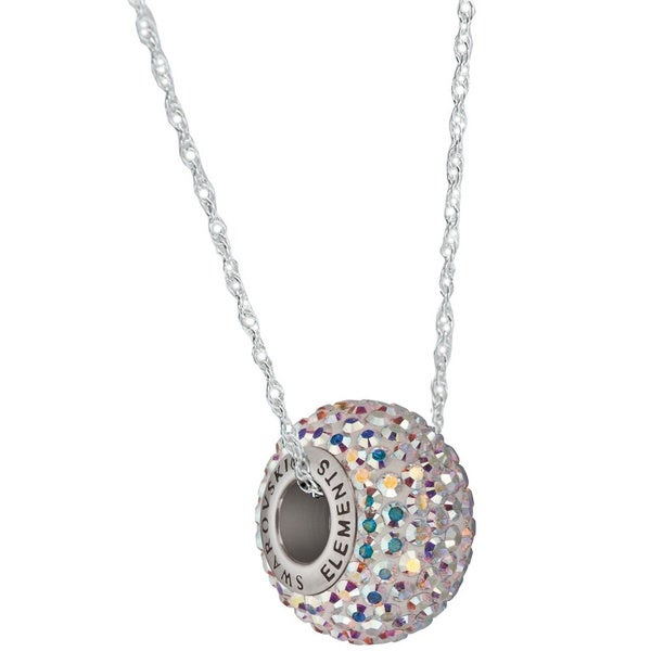 Sterling Silver Pave Crystal Rondelle Cable Chain Necklace