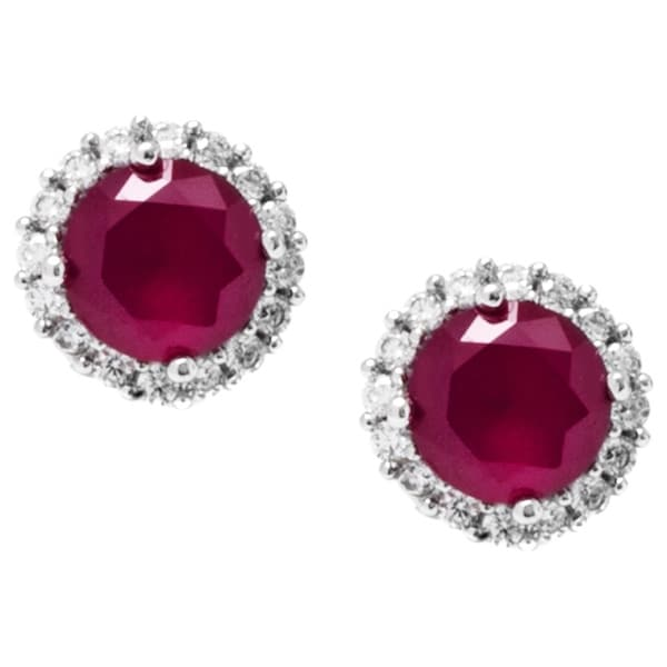 Sterling Silver Round Red Cubic Zirconia Halo Stud Earrings