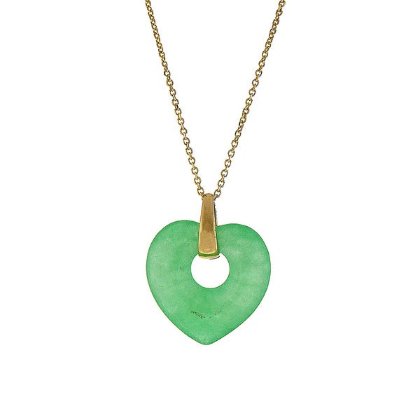 14k Yellow Gold Green Jade Heart Pendant Necklace