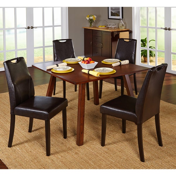 Simple Living 5-piece Ruben Dining Set with Brown Chairs