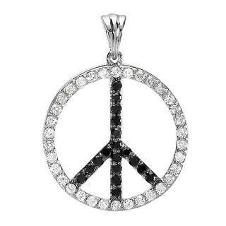 10k White Gold 1ct TDW Black and White Diamond Peace Sign Necklace (H-I, I1-I2)