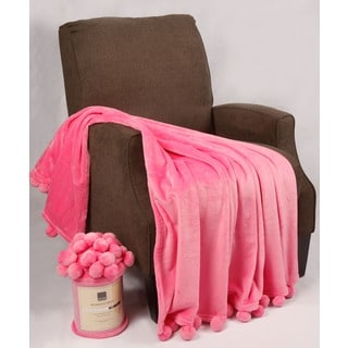 BOON Pompom Flannel Fleece Throw