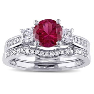 Miadora 10k White Gold Created Ruby and White Sapphire and 1/6ct TDW Diamond 3-stone Bridal Ring Set (G-H, I2-I3)
