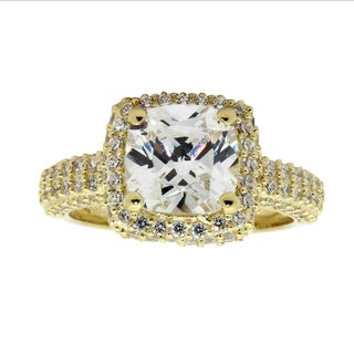 Sterling Silver Yellow Goldplated Cushion-cut Cubic Zirconia Designer Ring
