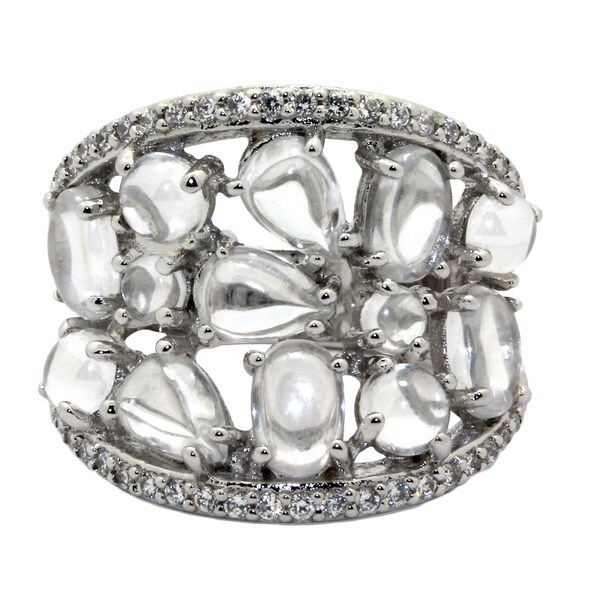 Gioelli Sterling Silver Multi-shape Smooth-cut Cubic Zirconia Ring