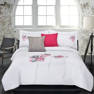 Lauren Taylor Crocus 5-piece Embroidered Microfiber Comforter Set