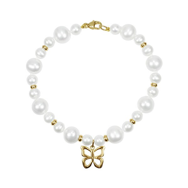 14K White Freshwater Pearl Butterfly Charm Bracelet (5.5 - 6mm)