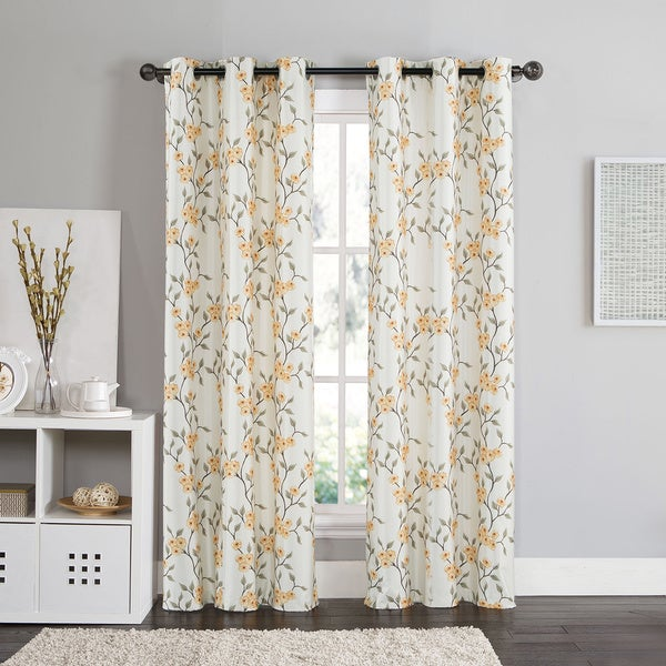 Vcny Rebecca Floral 84 Inch Grommet Top Room Darkening Curtain Panel Pair 17194571 Overstock