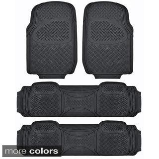 BDK USA Ridged Heavy Duty Rubber 3-row Car Mat for Van/ SUV (4 Pieces)