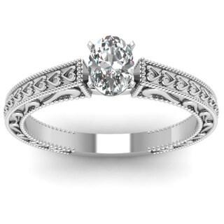 Fascinating Diamonds 14K White Gold 1/2 ct. TDW Oval Diamond Solitaire Double Milgrain Engagement Ring