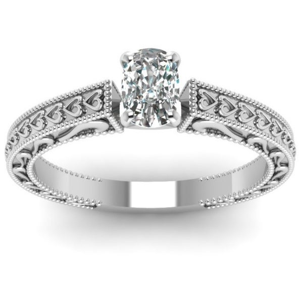 14k White Gold 1/2ct TDW Cushion-cut Diamond Solitaire Ring by Fascinating Diamonds (F-G, VS1-VS2, GIA)