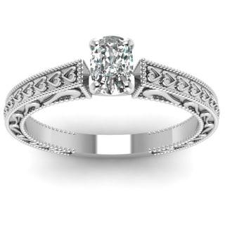 Fascinating Diamonds 14k White Gold 1/2ct TDW Cushion-cut Diamond Solitaire Ring (F-G, VS1-VS2)