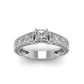 Fascinating Diamonds 14K White Gold 1/2ct. TDW Princess-cut Diamond Solitaire Engagement Ring