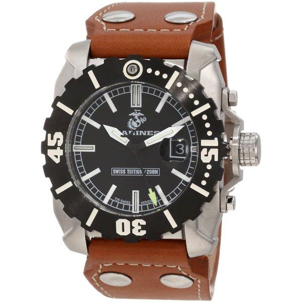 Wrist Armor Men's WA122 U.S. Marine Corps C2 Brown Leather Strap Watch