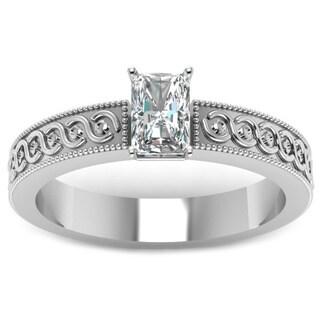 Fascinating Diamonds 14K White Gold 1/2ct. TDW Radiant-cut Diamond Solitaire Milgrain Outline Engagement Ring