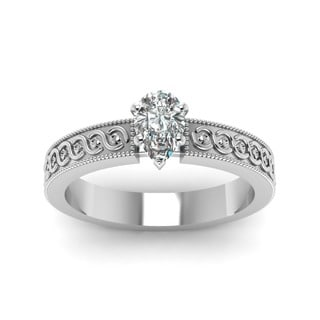 Fascinating Diamonds 14K Gold 1/2ct. TDW Pear-shaped Diamond Solitaire Filigree-band Engagement Ring
