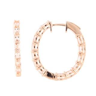 Sterling Silver Rose Polish 3.76CTW Exotic Morganite Hoop Earrings