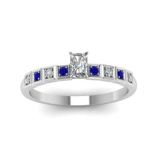 Fascinating Diamonds 14K White Gold Radiant-cut Diamond and Blue Sapphire Engagement Ring
