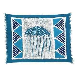 Handpainted Blue Jellyfish Batiked Placemat (Zimbabwe)
