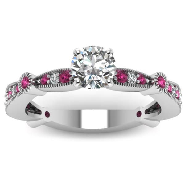 Fascinating Diamonds 14K White Gold 0.75ct TDW Round-cut Diamond and Pink Sapphire Band Engagement Ring