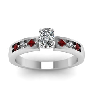 Fascinating Diamonds 14K White Gold Cushion-cut Diamond and Ruby Engagement Ring