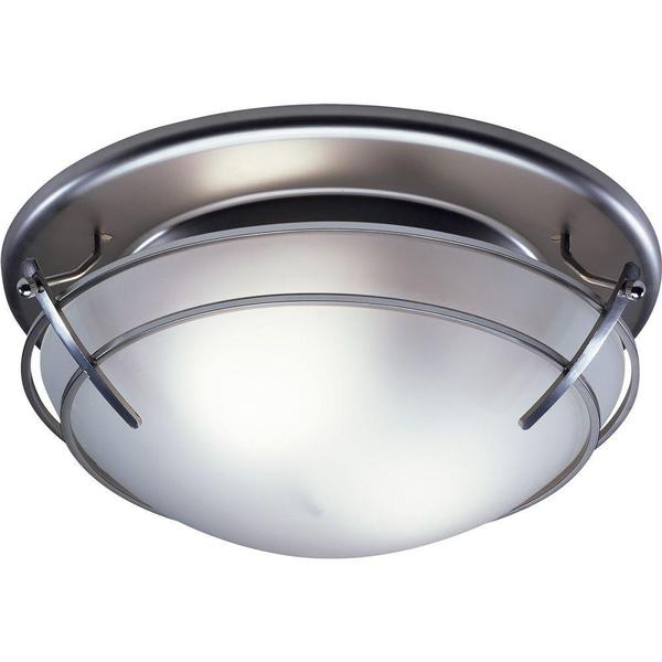 Decorative Bathroom Ceiling Lights : Broan decorative satin nickel with frosted glass shade