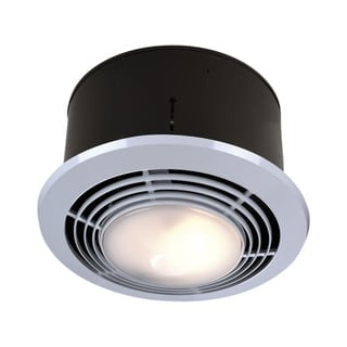 Broan decorative satin nickel with frosted glass shade 80 - Round bathroom exhaust fan with light ...