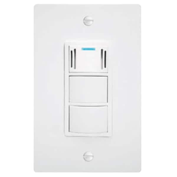 WhisperControl 3-Function On/Off Switch with Humidity Control and Timer in White