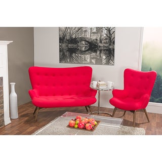 Solaris Fabric and Wood 2-Piece Contemporary Loveseat And Armchair Set