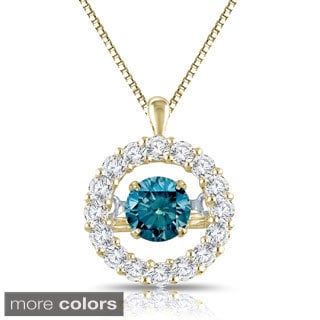 Auriya 14k Yellow Gold 1ct TDW Halo 'Dancing Diamond' Necklace (H-I, I1-I2)