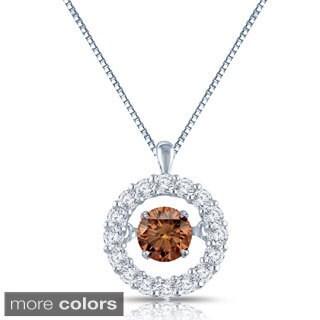 Auriya 14k Gold 1/2ct TDW Brown and White Diamond Halo 'Dancing Diamond' Necklace (H-I, I1-I2)