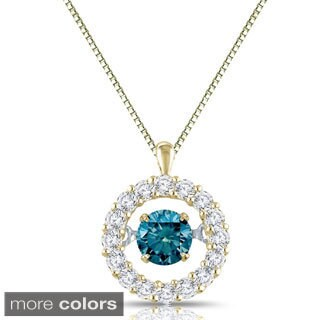 Auriya 14k Gold 1/2ct TDW Blue and White Diamond Halo 'Dancing Diamond' Necklace (H-I, I1-I2)
