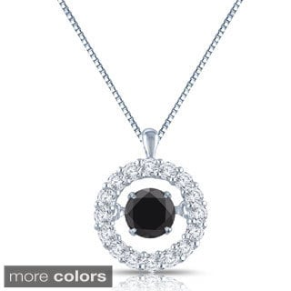 Auriya 14k Gold 1/2ct TDW Black and White Halo 'Dancing Diamond' Necklace (H-I, I1-I2)