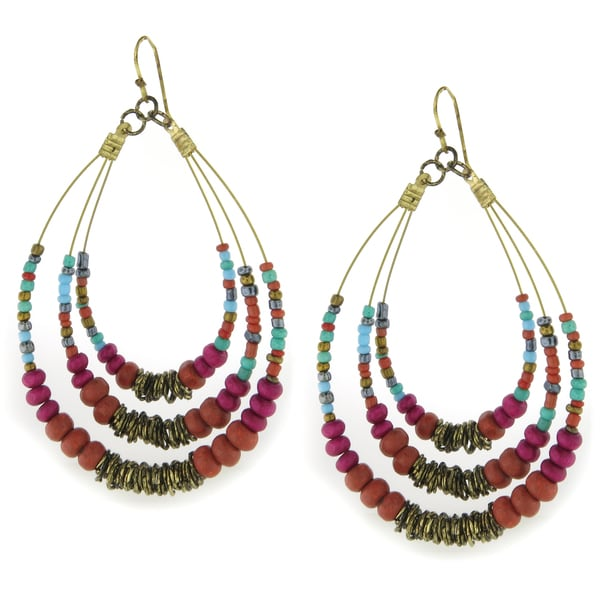 Handcrafted Large Multi-color Glass Beads with Goldtone Rings Teardrop Earrings (India)