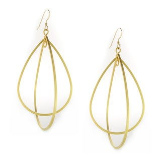 Handmade 16K Gold Plated DoubleTear Drops on Gold-Filled Earwire Earrings (USA)