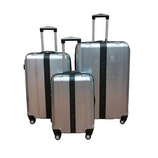 Chocolate New York Silver 3-piece Hardside Spinner Luggage Set