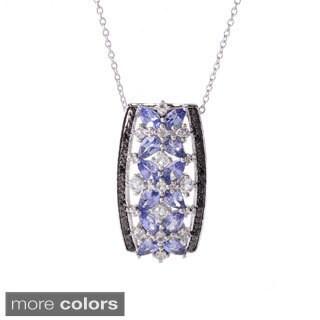 "Sterling Silver Exotic & Multi Gemstone Pendant w/ 18"" Chain"