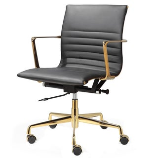 QUINZE Office Chair In Black Italian Leather And Gold Frame
