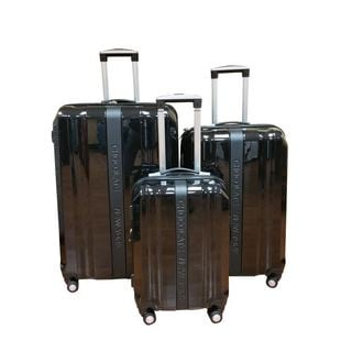 Chocolate New York Black 3-piece Hardside Spinner Luggage Set