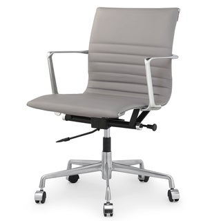 QUINZE Office Chair In Grey Italian Leather