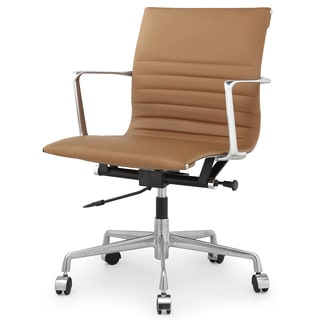 QUINZE Office Chair In Brown Italian Leather