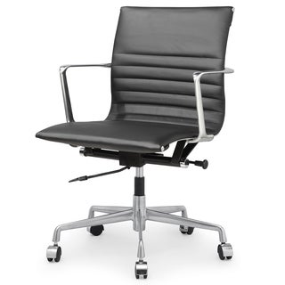 QUINZE Office Chair In Black Italian Leather