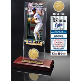 Ryne Sandberg 'Hall of Fame' Ticket and Bronze Coin Acrylic Desk Top