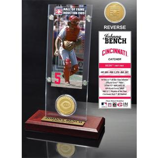 Johnny Bench 'Hall of Fame' Ticket and Bronze Coin Acrylic Desk Top