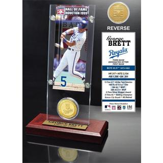 George Brett 'Hall of Fame' Ticket and Bronze Coin Acrylic Desk Top