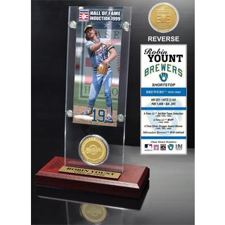 Robin Yount 'Hall of Fame' Ticket and Bronze Coin Acrylic Desk Top