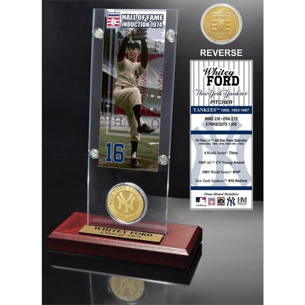 Whitey Ford 'Hall of Fame' Ticket and Bronze Coin Acrylic Desk Top