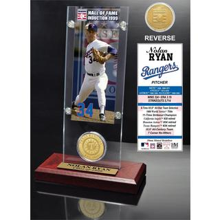 Nolan Ryan 'Hall of Fame' Ticket and Bronze Coin Acrylic Desk Top
