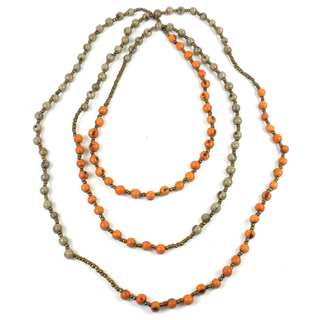 Faire Collection Colorblock Rope Necklace in Creamsicle and Gray (Ecuador)